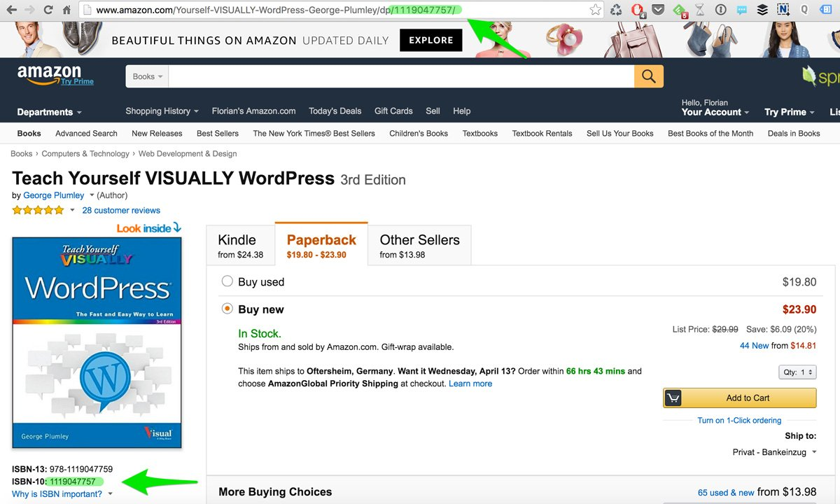 AAWP - Amazon Affiliate WordPress Plugin - Docs - Find Amazon Books ISBN