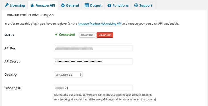 AAWP - Amazon Affiliate WordPress Plugin - Docs - Settings Amazon API