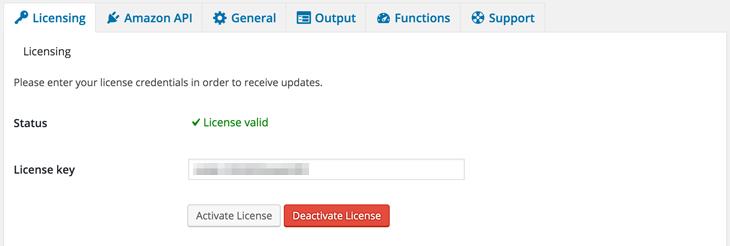 AAWP - Amazon Affiliate WordPress Plugin - Docs - Settings Licensing