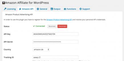 AAWP - Amazon Affiliate WordPress Plugin - Settings - Amazon API
