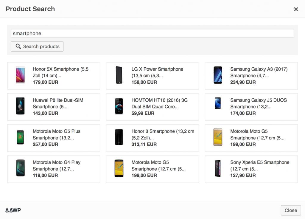 Comparison Tables - Product Search
