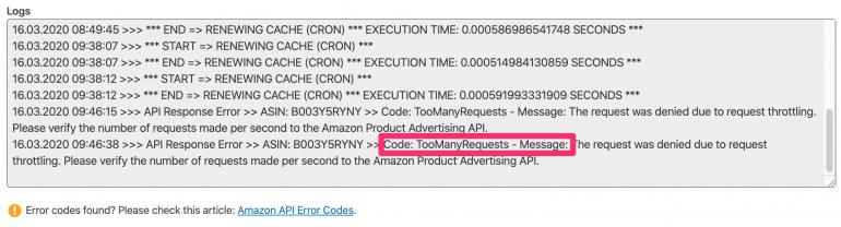 Amazon API Log