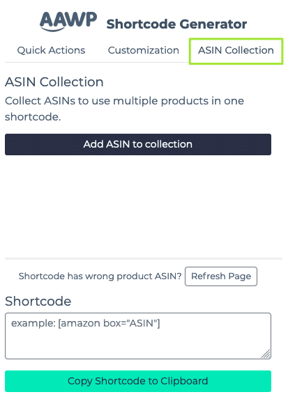 AAWP Shortcode Generator: ASIN Collection